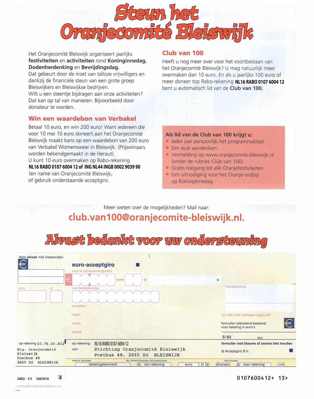 Steun het Oranjecomite Bleiswijk